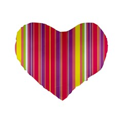 Stripes Colorful Background Standard 16  Premium Flano Heart Shape Cushions