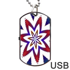 Fractal Flower Dog Tag USB Flash (One Side)