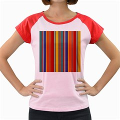 Stripes Background Colorful Women s Cap Sleeve T-Shirt
