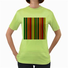 Stripes Background Colorful Women s Green T-Shirt