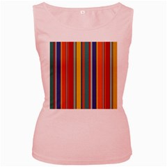 Stripes Background Colorful Women s Pink Tank Top