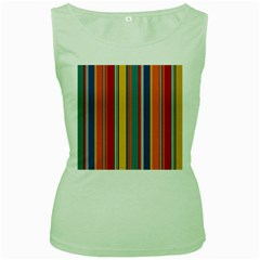 Stripes Background Colorful Women s Green Tank Top