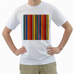 Stripes Background Colorful Men s T-Shirt (White) (Two Sided)