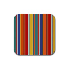Stripes Background Colorful Rubber Square Coaster (4 pack)