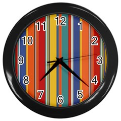 Stripes Background Colorful Wall Clocks (Black)