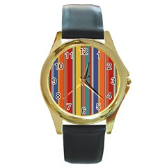 Stripes Background Colorful Round Gold Metal Watch