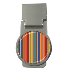 Stripes Background Colorful Money Clips (round)