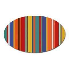 Stripes Background Colorful Oval Magnet