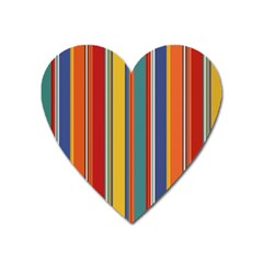 Stripes Background Colorful Heart Magnet