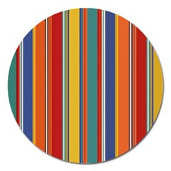 Stripes Background Colorful Magnet 5  (Round)
