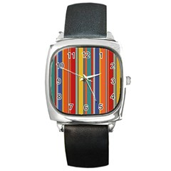 Stripes Background Colorful Square Metal Watch