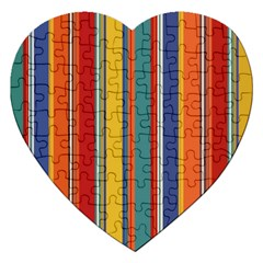 Stripes Background Colorful Jigsaw Puzzle (Heart)