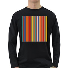Stripes Background Colorful Long Sleeve Dark T Shirts