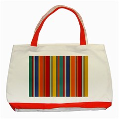Stripes Background Colorful Classic Tote Bag (red)