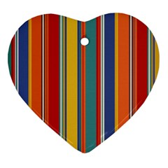 Stripes Background Colorful Heart Ornament (two Sides)