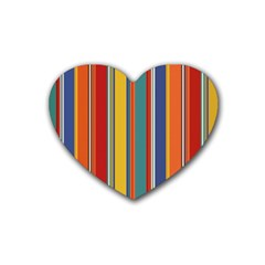 Stripes Background Colorful Rubber Coaster (Heart)