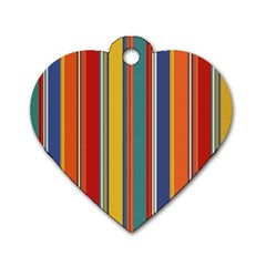 Stripes Background Colorful Dog Tag Heart (one Side)