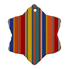 Stripes Background Colorful Snowflake Ornament (Two Sides)