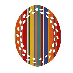 Stripes Background Colorful Oval Filigree Ornament (Two Sides)