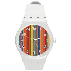 Stripes Background Colorful Round Plastic Sport Watch (M)