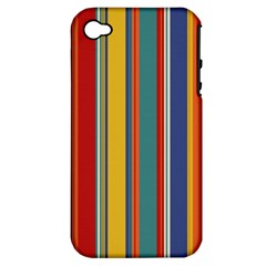 Stripes Background Colorful Apple iPhone 4/4S Hardshell Case (PC+Silicone)