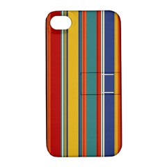 Stripes Background Colorful Apple iPhone 4/4S Hardshell Case with Stand