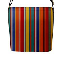 Stripes Background Colorful Flap Messenger Bag (L)