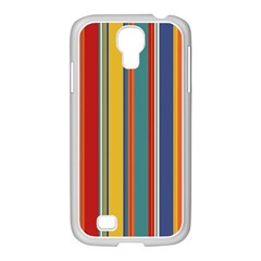 Stripes Background Colorful Samsung GALAXY S4 I9500/ I9505 Case (White)