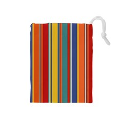 Stripes Background Colorful Drawstring Pouches (Medium)