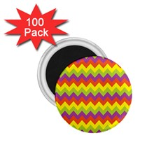 Colorful Zigzag Stripes Background 1 75  Magnets (100 Pack)