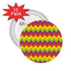 Colorful Zigzag Stripes Background 2.25  Buttons (10 pack)