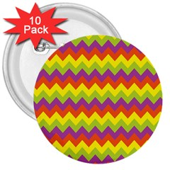 Colorful Zigzag Stripes Background 3  Buttons (10 Pack)