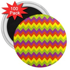Colorful Zigzag Stripes Background 3  Magnets (100 pack)