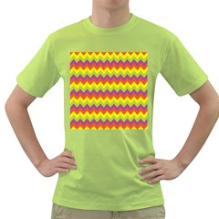 Colorful Zigzag Stripes Background Green T-Shirt
