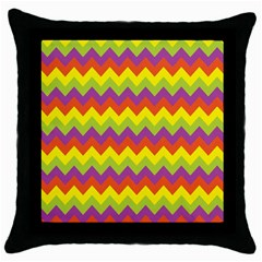 Colorful Zigzag Stripes Background Throw Pillow Case (Black)