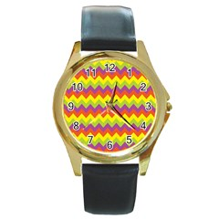 Colorful Zigzag Stripes Background Round Gold Metal Watch