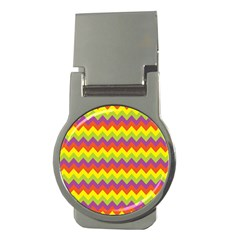 Colorful Zigzag Stripes Background Money Clips (Round)