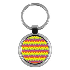 Colorful Zigzag Stripes Background Key Chains (round)