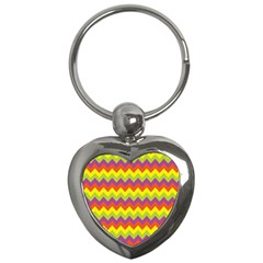 Colorful Zigzag Stripes Background Key Chains (Heart)