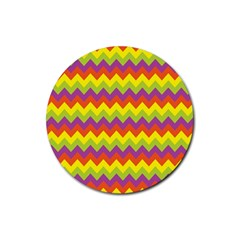 Colorful Zigzag Stripes Background Rubber Round Coaster (4 Pack)