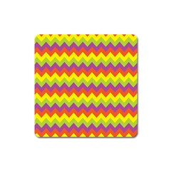 Colorful Zigzag Stripes Background Square Magnet