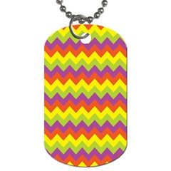 Colorful Zigzag Stripes Background Dog Tag (One Side)