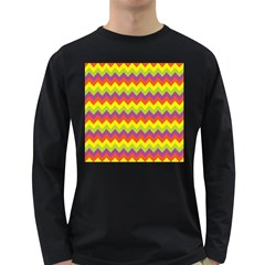 Colorful Zigzag Stripes Background Long Sleeve Dark T-Shirts