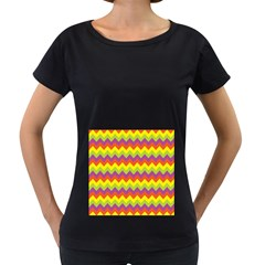 Colorful Zigzag Stripes Background Women s Loose Fit T Shirt (black)