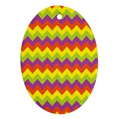Colorful Zigzag Stripes Background Oval Ornament (Two Sides)