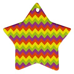 Colorful Zigzag Stripes Background Star Ornament (two Sides)