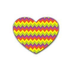 Colorful Zigzag Stripes Background Rubber Coaster (Heart)