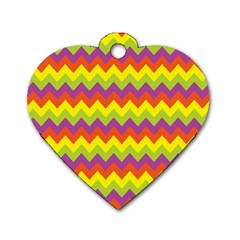 Colorful Zigzag Stripes Background Dog Tag Heart (two Sides)