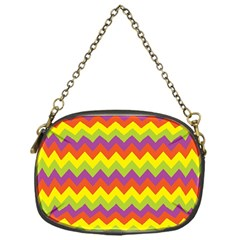 Colorful Zigzag Stripes Background Chain Purses (One Side)