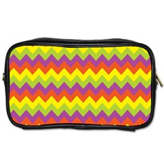 Colorful Zigzag Stripes Background Toiletries Bags 2 Side